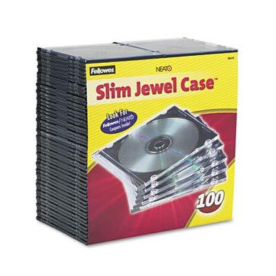 Fellowes Thin CD/DVD Jewel Case - Jewel Case - Book Fold - Plastic - Clear, Black ()