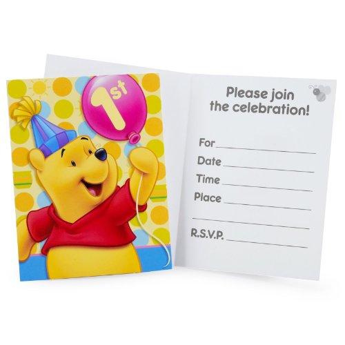 Hallmark Pooh's First Birthday Invitations - 8 ct