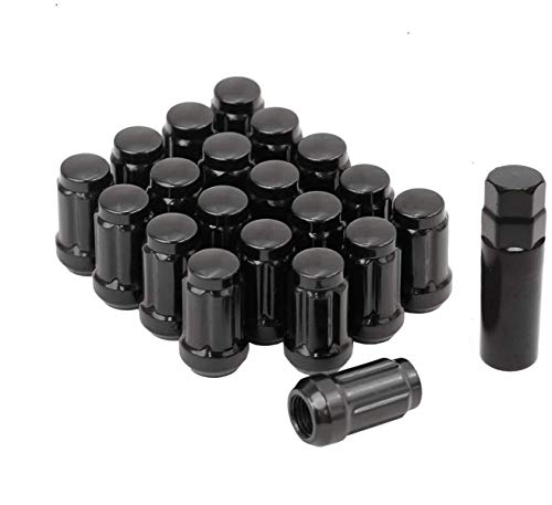 (Bill Smith Auto Performance 20 PCs 6 Spline Black Lug Nuts with Key Cone Seats Closed End for Buick Cadillac Chevrolet GMC Chrysler)