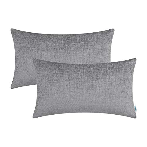 CaliTime Pack of 2 Cozy Bolster Pillow Covers Cases for Couch Sofa Home Decoration Solid Dyed Soft Chenille 12 X 20 Inches Medium Grey ()