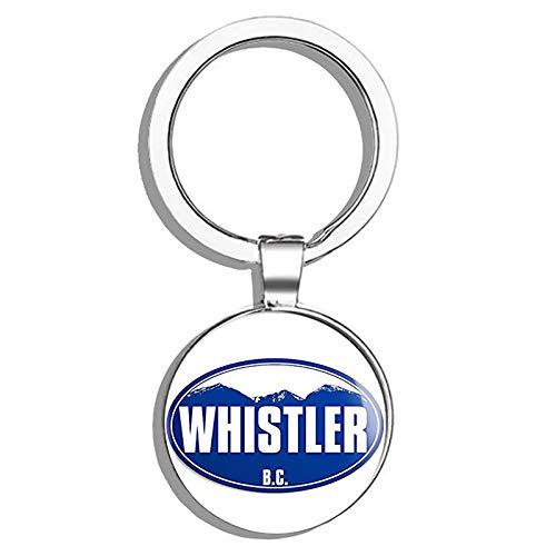 - HJ Media Blue Mountain Oval Whistler (Snow ski BC Canada Skiing Resort) Metal Round Metal Key Chain Keychain Ring