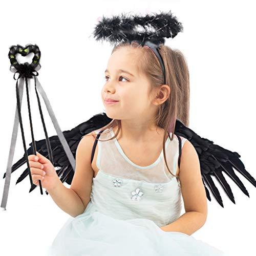 Black Halloween Fairy Wings (Koogle Children's Black Angel Wings Kids,Halloween Wings Feather Angel Wings Halo Fairy Stick for Halloween Party Costumes Angel Wings for Cosplay, Party)
