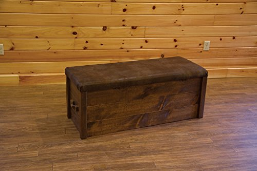Amish Blanket Chest - Barn Wood Style Timber Peg Cushion Top Blanket/Hope Chest - Amish Made USA