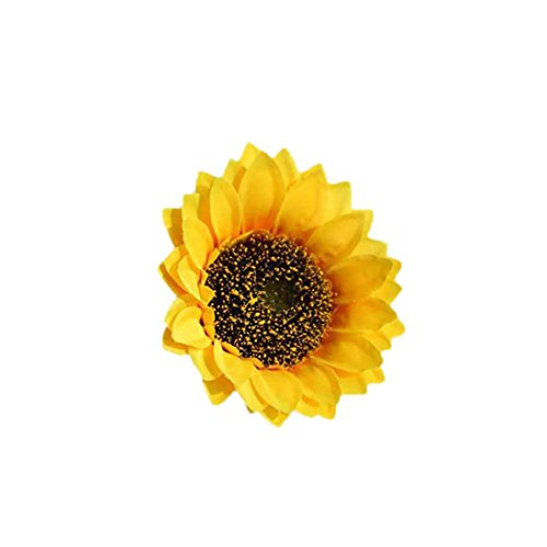 Silk Cloth Artificial Flowers, Leewa Fake Sunflower Heads Floral Bridal Wedding /Centerpieces Arrangements/Party/Home Decorations/Valentine's Day (C, Diameter:18cm)
