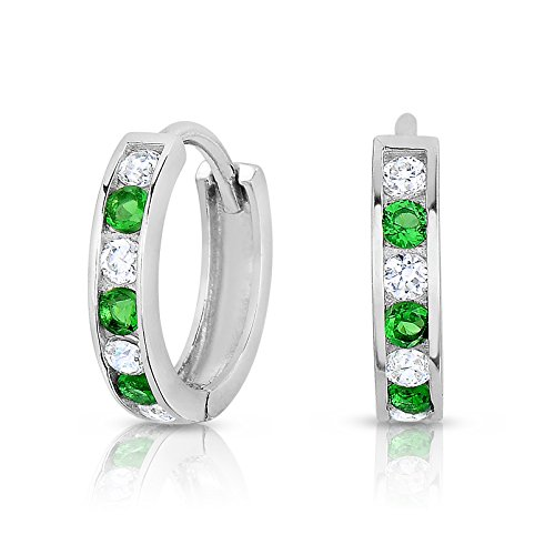 "Sterling Silver 1/2"" Huggie Hoop Earring with Channel Set Cubic Zirconia and Simulated Emerald (May Birthdays)"