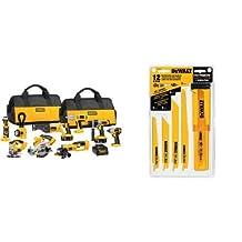 DEWALT DCK955X 18-Volt XRP Cordless 9-Tool Combo Kit & DEWALT DW4892 Reciprocating Saw Blade Set with Case, 12-Piece