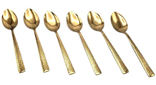 - Set of 6 Stainless Steel Spoons with Hammered Finish Handles (Gold, Mocha Spoon)