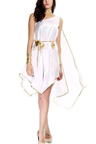 AIKOSHA ROMAN Women's Sexy Halloween Party Role-playing Greek Goddess Costume Long Dress
