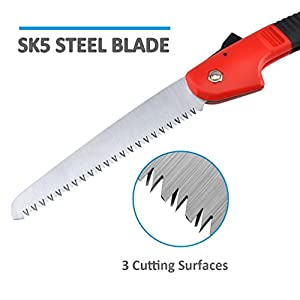 "Pruning Saw w/ Rugged 7"" SK5 Blades, Folding Hand Saw for Tree Pruning, Hunting, Camping, Hand Held Design and Non Slip Ergonomics Handle"