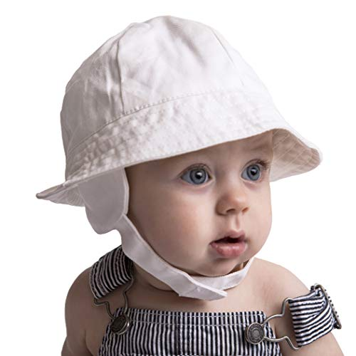 Huggalugs Baby & Toddler Boys White Twill Earflap UPF 50+ Sunhat with Chinstrap 2-4 yr