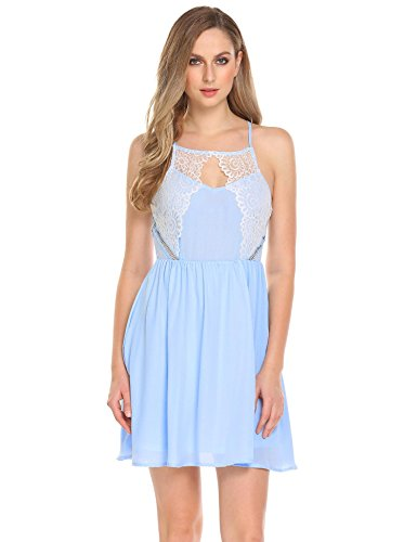 Dethler Women Sexy Spaghetti Strap Cut Out Lace Chiffon Pleated Club Cocktail Party Mini Dress Light Blue S