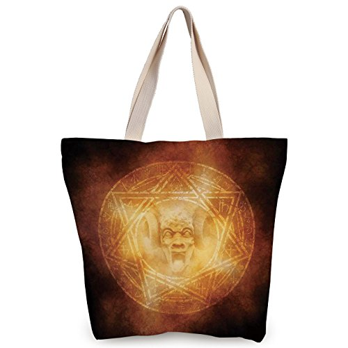 iPrint Personalized Canvas Tote Bag,Horror House Decor,Demon Trap Symbol Logo Ceremony Creepy Ritual Fantasy Paranormal Design,Orange,Canvas Shopping bag,shoulder handbags,Shoulder Bag by iPrint