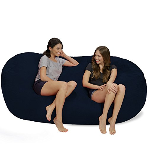 Chill Sack Bean Bag Chair: Huge 7.5' Memory Foam Furniture Bag and Large Lounger - Big Sofa with Soft Micro Fiber Cover - Navy ()