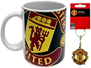 Manchester United - Halftone Mug & Team Crest Keychain