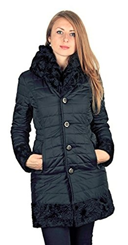 Laundry by Shelli Segal Woman's Black Faux Fur Reversible 3/4 Coat Hooded Shearling and Quilted Black (M)