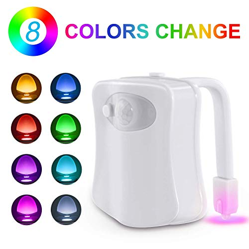 (Toilet Night Light, Motion Sensor LED Night Lights,Two Modes with 8 Colors Changing Toilet Bowl Night Light for Bathroom Washroom, Perfect Detection-Fits Any Toilet)