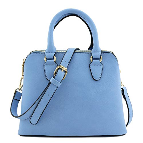 Classic Double Zip Top Handle Satchel Bag Blue
