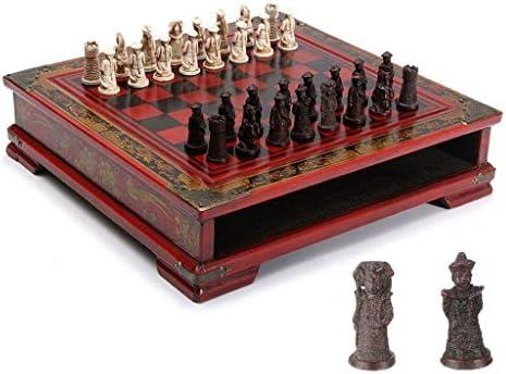 LOFAMI Juegos de Mesa Ajedrez 32 Unids/Set Ajedrez de Mesa de Madera Retro Ajedrez Chino Damas Juegos Resina Chessman Navidad Cumpleaños Regalos Entretenimiento Juego de Tablero Ajedrez: Amazon.es: Hogar