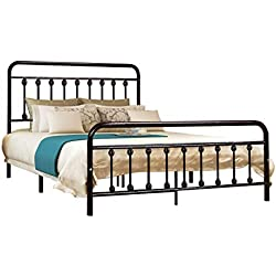 HOMERECOMMEND Dark Bronze Metal Bed Frame Platform with Headboard and Footboard Box Spring Replacement Mattress Foundation Hevay Duty Steel Slats, Queen