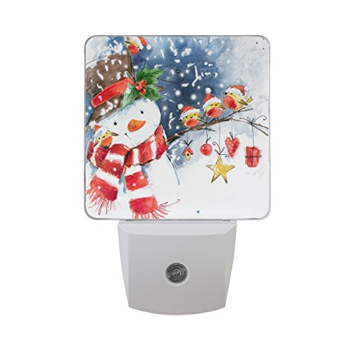 Naanle Set of 2 Watercolor Snowman Christmas Bird Snowflake Winter Auto Sensor LED Dusk to Dawn Night Light Plug in Indoor for Adults (Lights Snowman Christmas)