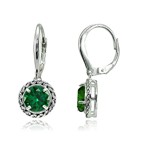 Sterling Silver Simulated Emerald Round Oxidized Rope Dangle Leverback Earrings