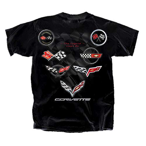 (Joe Blow Men's Corvette C1-C7 Flag Collection T-Shirt, X-Large, Black)