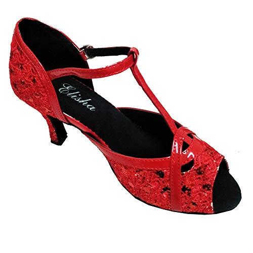 Hccy Rouge Antidérapant Latines Poisson Danse Mou 35eu Intérieure De Pour Bouche Chaussures Dames Fond SRCrSw