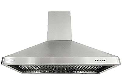 XtremeAir UL02 Wall Mount Range Hood with 900 CFM Baffle Filters/Grease Drain Tunnel