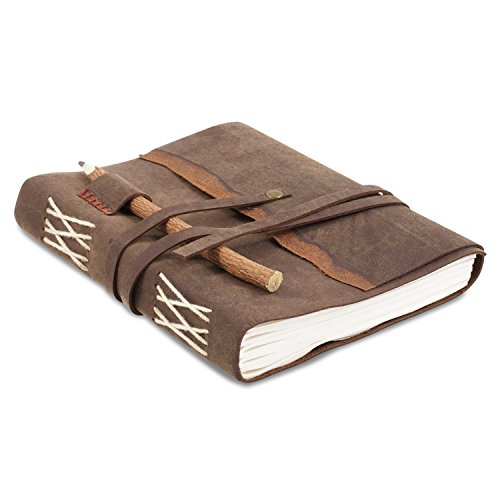 Rustic Leather Writing Journal with Handmade Recycled Cotton Paper, Natural Stick Pencil and Gift Box for Men Women, use as a diary, journal, Artist sketch book (6 x 8, DK - Artist Books Handmade