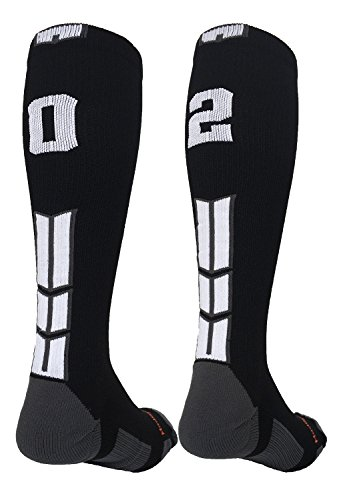MadSportsStuff Player Id Black/White Over The Calf Number Socks (#02, Small)