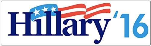 "CAR MAGNET: Hillary '16. White 3"" x 10"" Democrat Election Campaign"