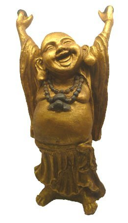 Large Standing Stretching Happy Gold Resin Chinese Laughing Lucky Buddha Statue. Rub Belly for Luck and Good Fortune - Fair Trade by Mystery Mountain