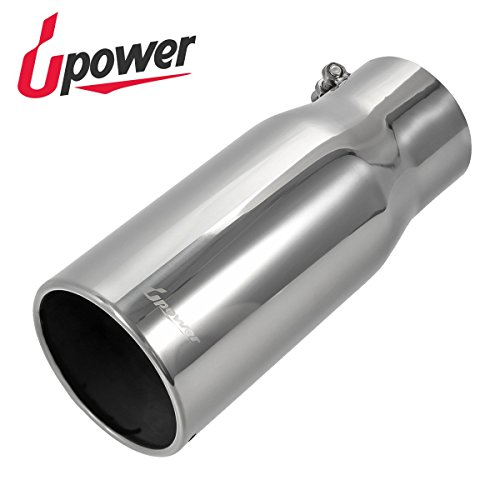 """5/"""" Outlet Stainless Steel Bolt On Exhaust Tip 4/"""" Inlet 12/"""" Long"""
