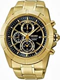 Seiko Chronograph Black Dial Gold-tone Mens Watch SNDE74, Watch Central