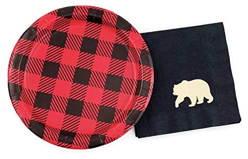 Buffalo Plaid Bear Party Set - 16 Plates Napkins Lumberjack Birthday Baby Shower -