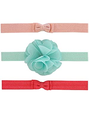Baby Girls' 3-Pack Plume & Bow Headwraps Blue Multi!