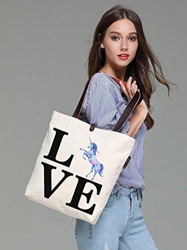 So'each Women's Love Letters Unicorn Graphic Canvas Tote Handbag Shoulder Bag
