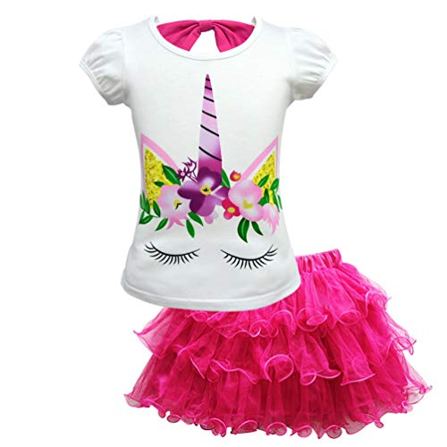(CLanItris Girls' Unicorn Two-Piece Costume Dress Up with Lace Layered Tutu Skirts for Pageant Party Dress)