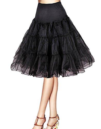 Bbonlinedress Organza 50s Vintage Rockabilly Petticoat Underskirt Black XL
