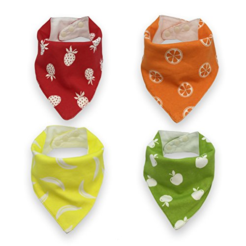 Baby Bandana Snap Bibs for Boys or Girls comes in 4 Pack Vibrant Set