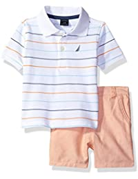 Nautica Boys' Short Sleeve Multi Stripe Polo with Flat Front Short Set