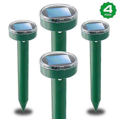 XIAXIA 4-Packs Solar Mole Repellent Sonic Mole Deterrent Chaser Mole,Gopher,Vole Repeller Spikes for Yard Lawn Garden,Waterproof (Repeller Mole)