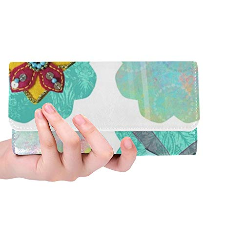 Unique Custom Diwali Paisley Fish Tag Label Scrapbook Collage Women Trifold Wallet Long Purse Credit Card Holder Case Handbag