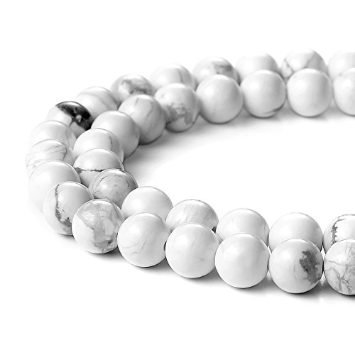 BEADNOVA 8mm Natural White Howlite Gemstone Round Loose Beads for Jewelry Making (45-48pcs)