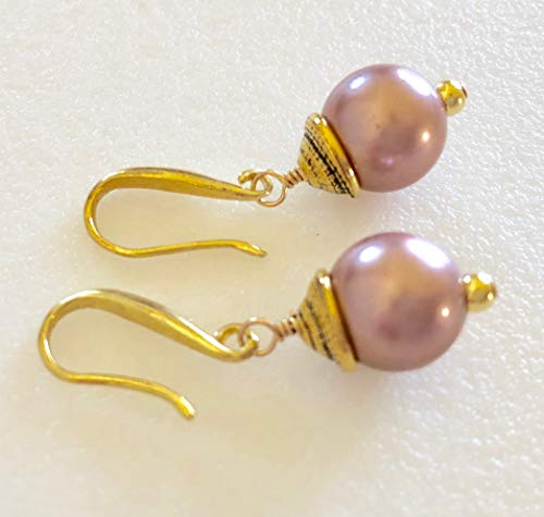 Rose Pink Pearl Earrings, Freshwater Cultured Pearls, June Birthstone, Bridal, Handmade Solid 24K Gold Vermeil Ear Wires, Sterling Silver