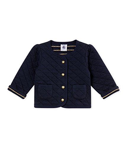 (Petit Bateau Baby Girls Navy Quilted Cotton Cardigan with Pockets (12 Month))
