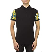 Versace Jeans Couture Pima Cotton Baroque Sleeve Polo Shirt Black Teal
