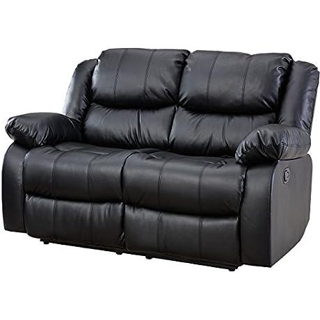 Giantex 3Pc Black Motion Sofa Loveseat Recliner Set Living Room Bonded Leather Furniture Love Seat Black