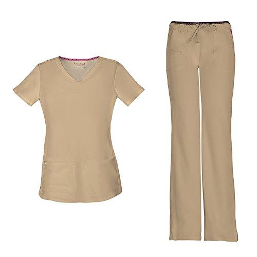 HeartSoul Women's Pitter-Pat Shaped V-Neck Scrub Top 20710 & Heartbreaker Heart Soul Drawstring Scrub Pants 20110 Medical Scrub Set (Khaki - Medium/Medium Petite)
