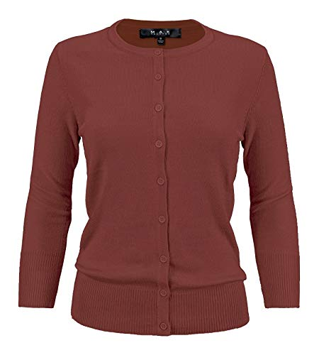 YEMAK Women's 3/4 Sleeve Crewneck Button Down Knit Cardigan Sweater CO079-RST-3X Rust ()